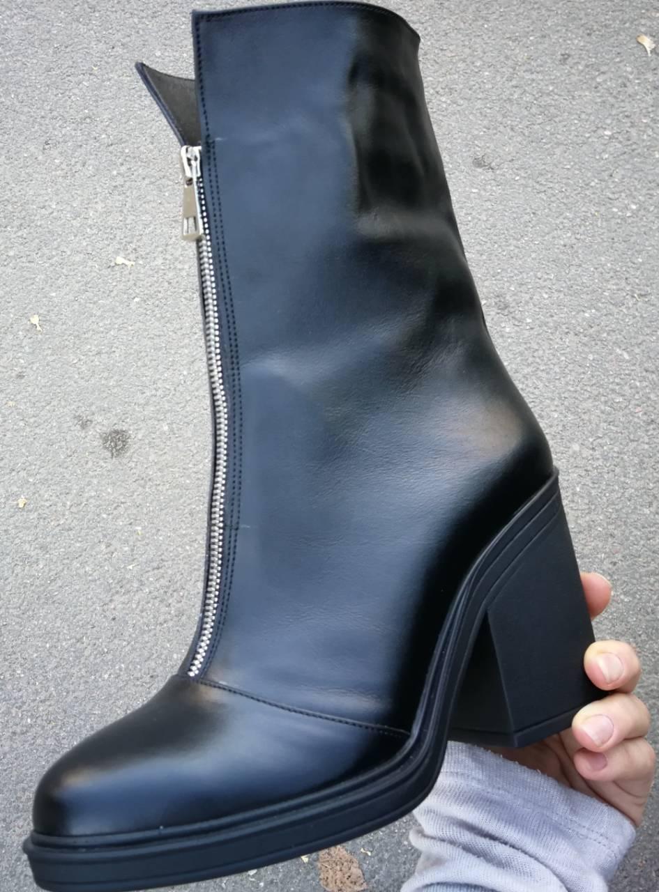 79bb87468 Ботинки женские зима кожа! Змейка спереди удобный широкий каблук Кензо ,  фото 4 ...