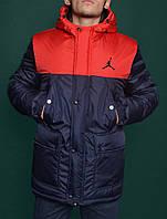 Зимняя Мужская Теплая Куртка-Парка Jordan Мужские Синие Куртки Зимние Джордан