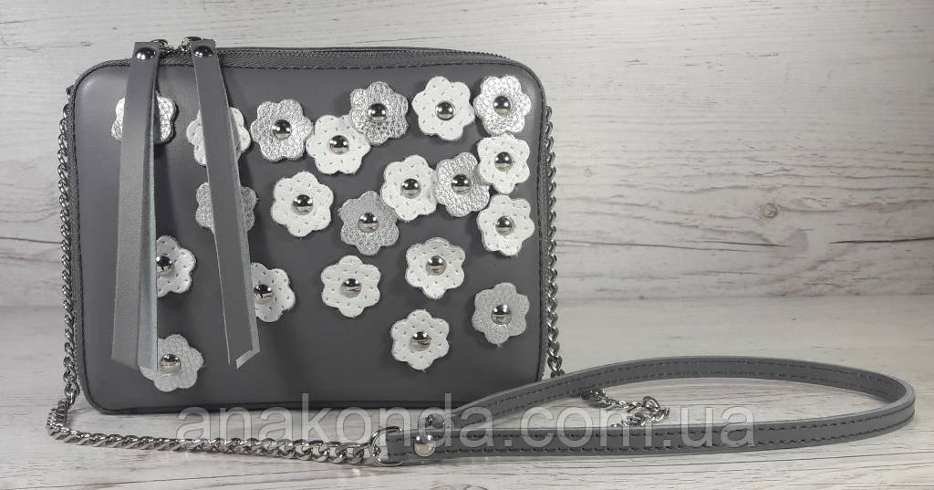 62-ц Натуральная кожа, Сумка женская кросс-боди, серый, декор цветы
