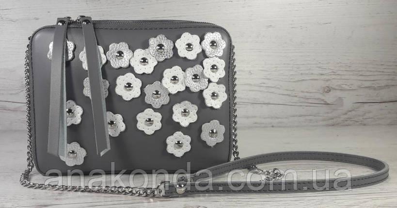 62-ц Натуральная кожа, Сумка женская кросс-боди, серый, декор цветы, фото 2