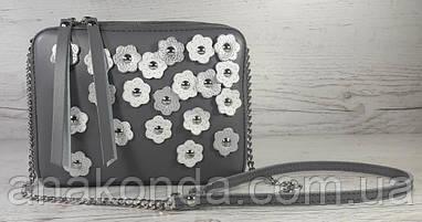 62-д Натуральная кожа, Сумка женская кросс-боди, серый, декор цветы