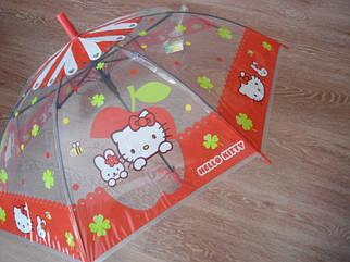 Зонт зонтик трость полуавтомат детский прозрачный