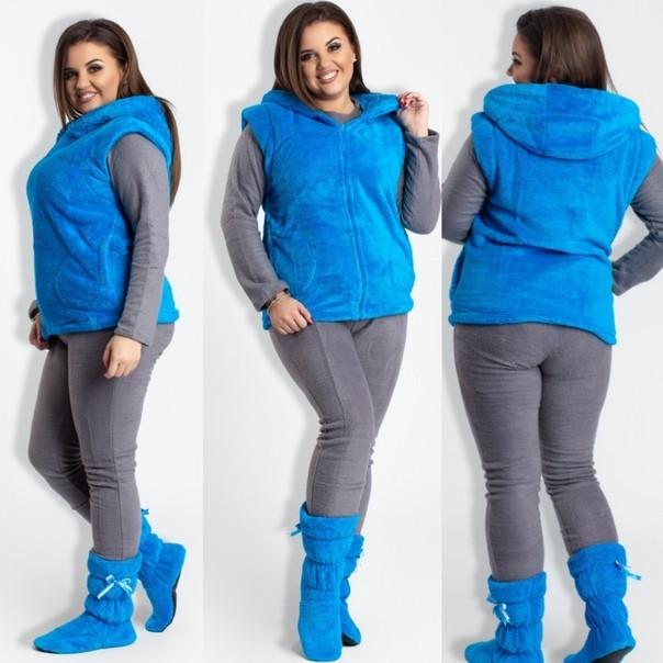 220eec7fe852d Женский теплый домашний костюм - пижама флис и жилет с сапожками из  натуральной турецкой пушистой махры