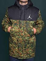 Зимняя Мужская Теплая Куртка-Парка Jordan Куртки Зеленые Хаки Зимние Очень Теплые Куртки-Парки