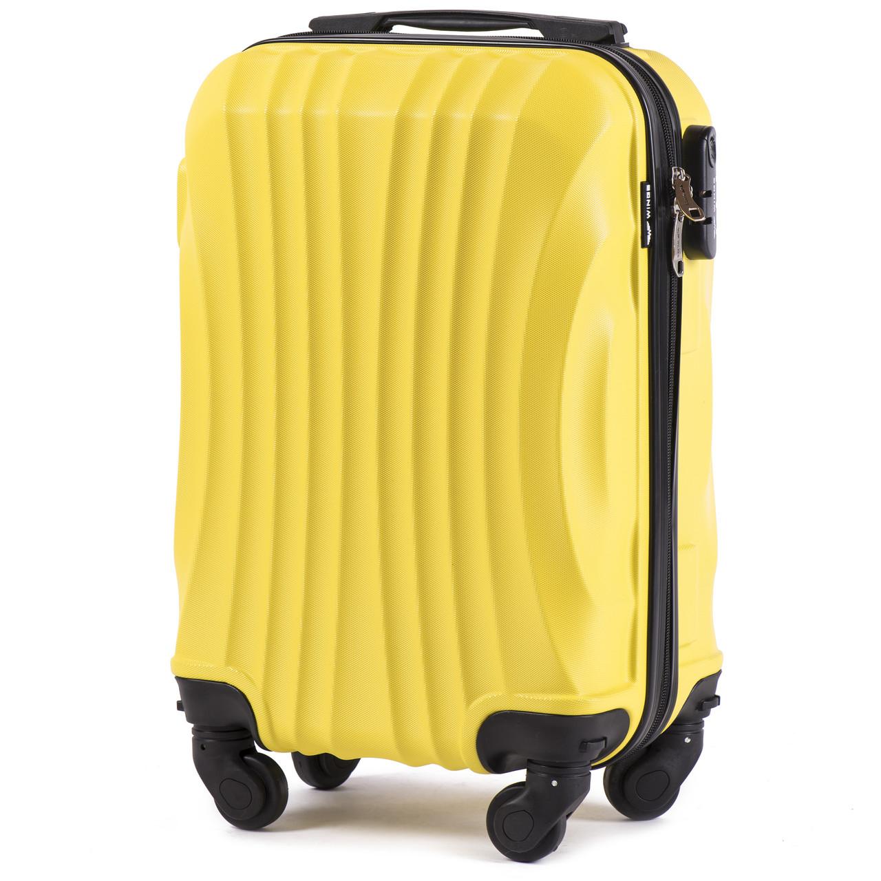 Микро пластиковый чемодан Wings 159 на 4 колесах желтый