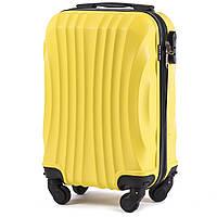 Микро пластиковый чемодан Wings 159 на 4 колесах желтый, фото 1