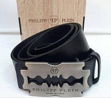 Ремень кожаныйPhilipp Plein черный (матовая пряжка)