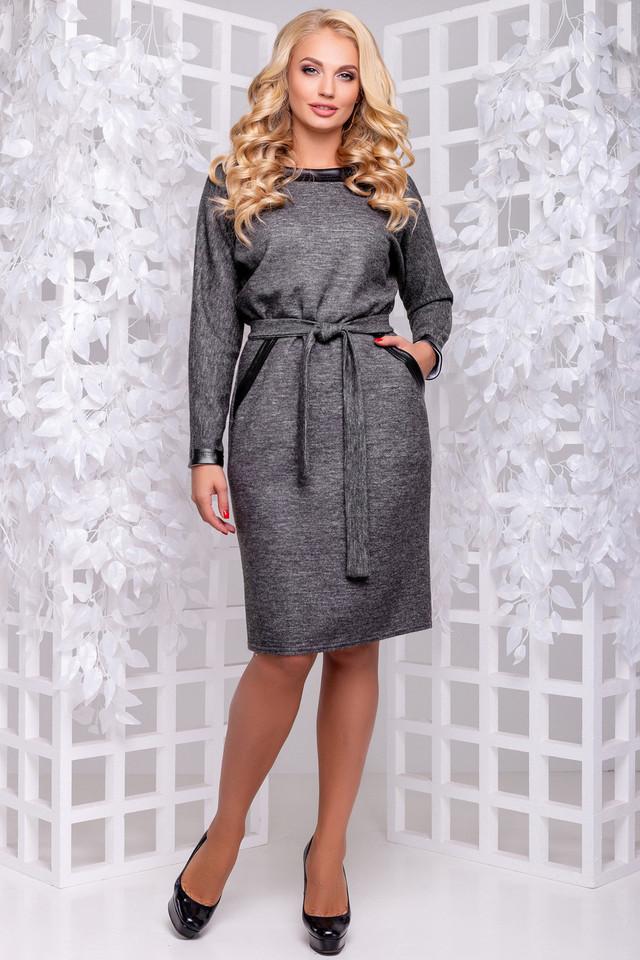 Платье тёмно-серое, классическое, деловое, повседневное