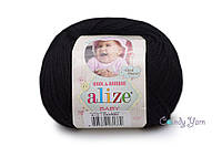 Alize Baby Wool, черный №60