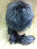 Меховая шапка из норки и чернобурки на вязанной  основе цвет чёрный, фото 2