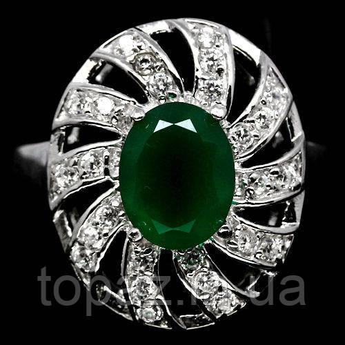 Кільце срібне 925 натуральний зелений агат, цирконій.