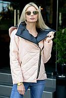 Женская демисезонная куртка с застежкой наискось и съемным капюшоном Батал, фото 1