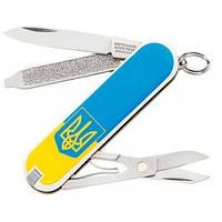 Нож Складной Мультитул Викторинок Victorinox CLASSIC SD UKRAINE Герб (58мм, 7 функций), желто-голубой 0.6223.7