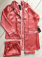 Комплект атласный халат штаны и рубашка