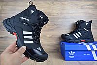 Зимові чоловічі кросівки Adidas Climaproof високі, чорні з білими смужками (ТОП репліка), фото 1