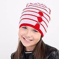 Осенняя шапка в полоску для девочки - Арт 1602