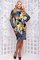 Демисезонное трикотажное платье принтованное большого размера 50-56 темно-синий , электрик, фото 1