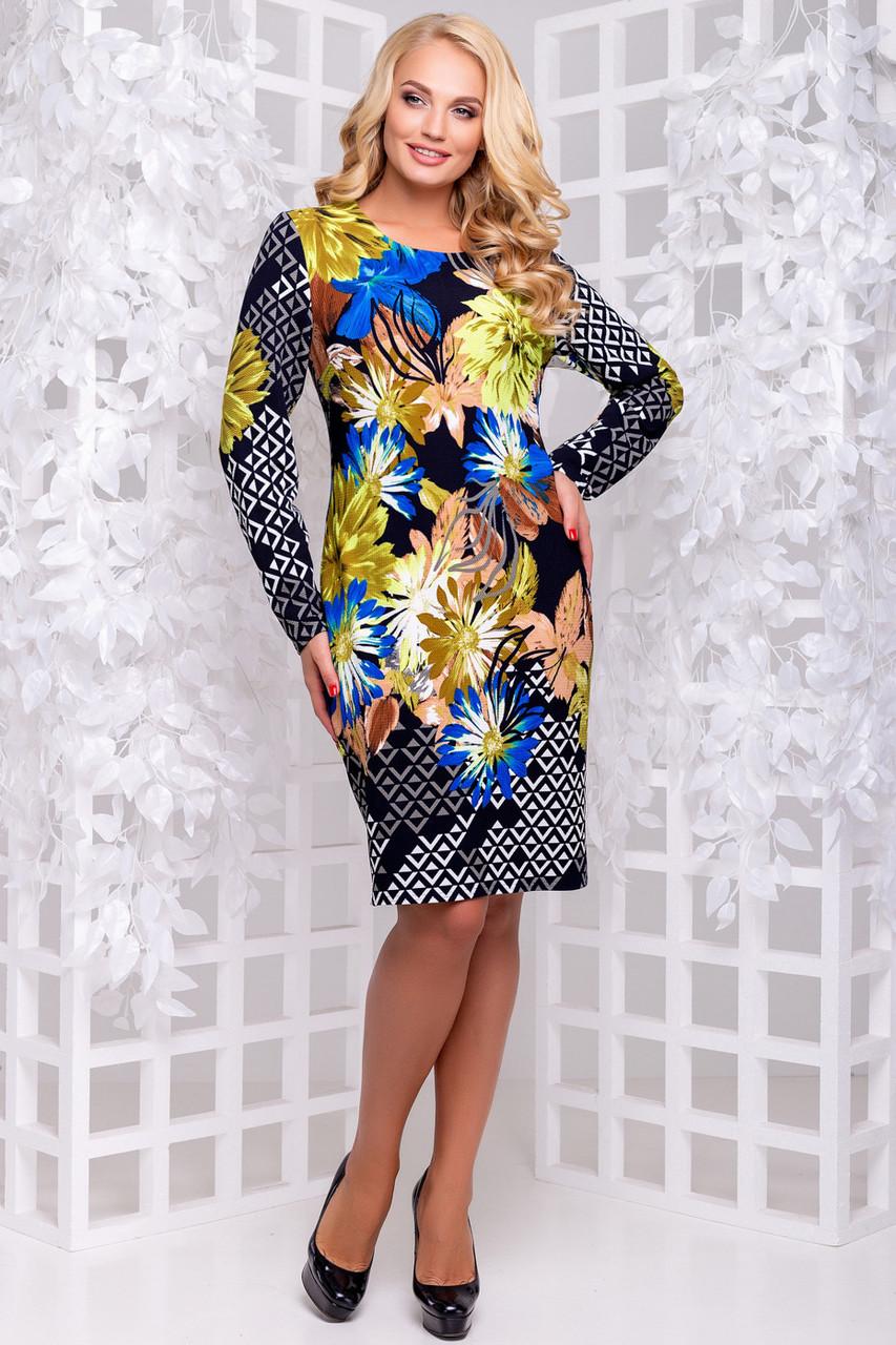 1576c53baaf Демисезонное трикотажное платье принтованное большого размера 50-56  темно-синий