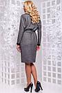 Женское деловое платье серое, размеры от 44 до 52, ангора с люрексом, повседневное, классическое, фото 10