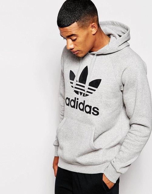 Худи Adidas | Мужская толстовка | Кенгурушка - чёрный принт