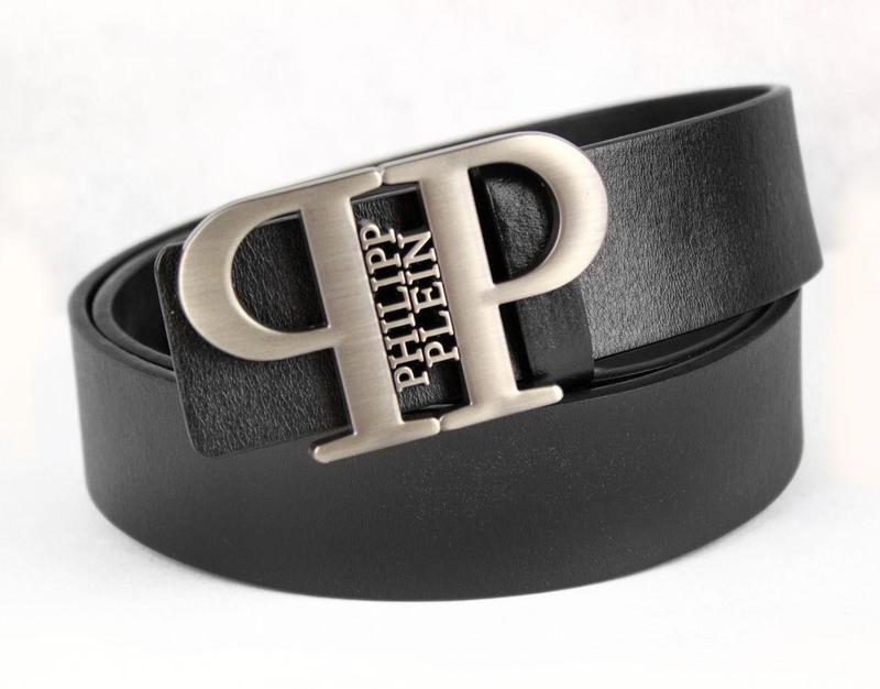 Ремень кожаный Philipp Plein черный (с бронзовой пряжкой)