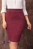 Стильная теплая юбка из ангоры бордовая 003
