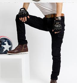 Защитные мотоштаны мото джинсы с боковыми карманами черные KOMINE в комплекте вставная Защита коленей и бёдер