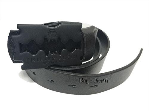 Кожаный ремень Philipp Plein черный (черная матовая пряжка)