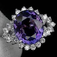 Кольцо серебряное 925 натуральный ААА пурпурно фиолетовый аметрин, белый сапфир.