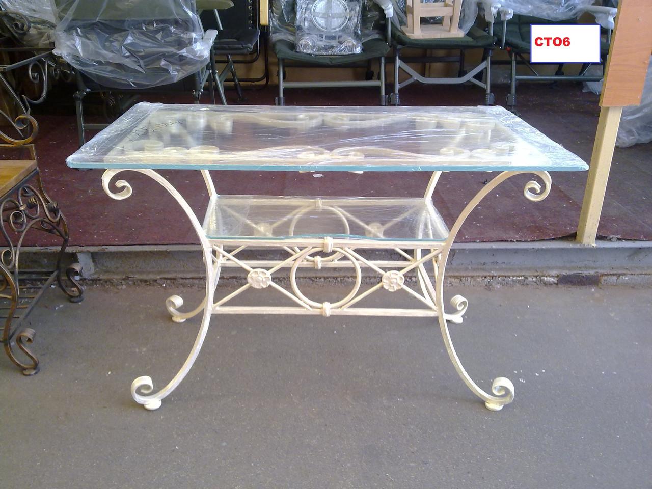 Кованый стол со стеклянной столешницей