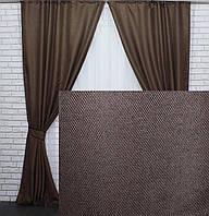 """Комплект готовых светонепроницаемых штор,коллекция блэкаут """"Лён Мешковина"""", цвет коричневый.Код 277ш, фото 1"""