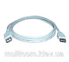 05-08-026. Шнур USB штекер A - гнездо А, version 2.0, серый, 5м