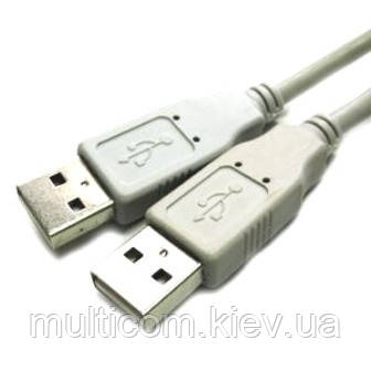 05-08-031. Шнур USB штекер A - штекер А, version 2.0, серый, 1м