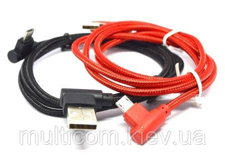 05-09-087. Шнур USB штекер А угловой - штекер miсro USB угловой, сетка, цветной, 1м