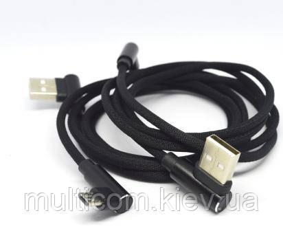 05-09-089. Шнур USB штекер А угловой - штекер miсro USB угловой, HQ, в сетке, цветной, 1м