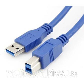 05-10-008. Шнур USB штекер A - штекер B, version 3.0, синий, 1,5м