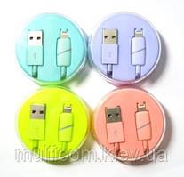 05-11-011. Шнур USB штекер А - штекер iPhone (Lightning), в колбе, цветной, 1м
