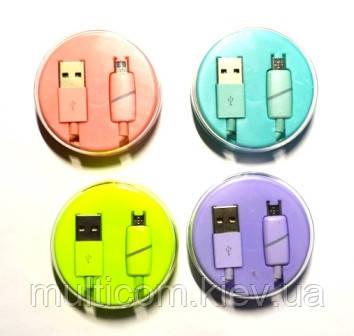 05-09-083. Шнур USB штекер А - штекер miсro USB, в колбе, цветной, 1м