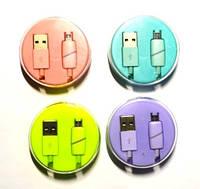 05-05-49. Шнур USB штекер А - штекер miсro USB, в колбе, 1м, цветной