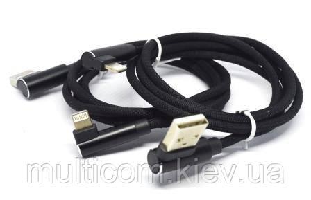 05-11-011BK. Шнур USB штекер А - штекер iPhone (Lightning) кутовий, HQ, в сітці, чорний, 1м