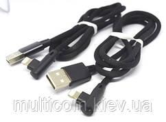 05-11-018. Шнур USB штекер А - штекер iPhone (Lightning) угловой, в сетке, 1м