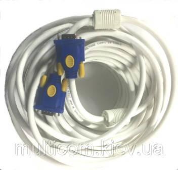05-06-312. Шнур VGA (штекер - штекер), з фільтром, білий, 30м