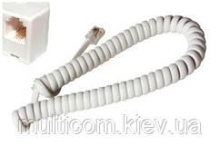 05-14-021. Шнур удлинитель телефонный витой, белый, 4м