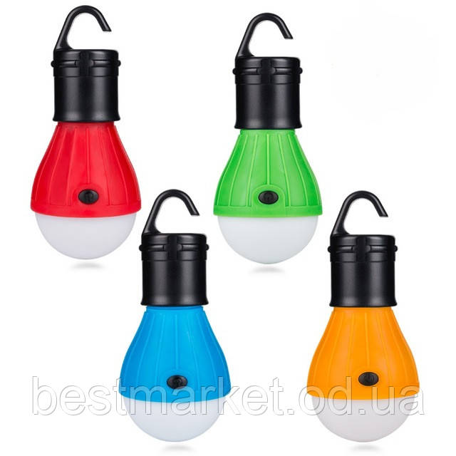Кемпинговый фонарь с крючком, LED лампа с крючком для палатки 4 цвета