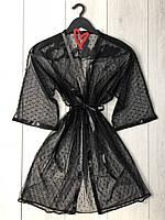 Чорний прозорий халат з мікросітки для дому.