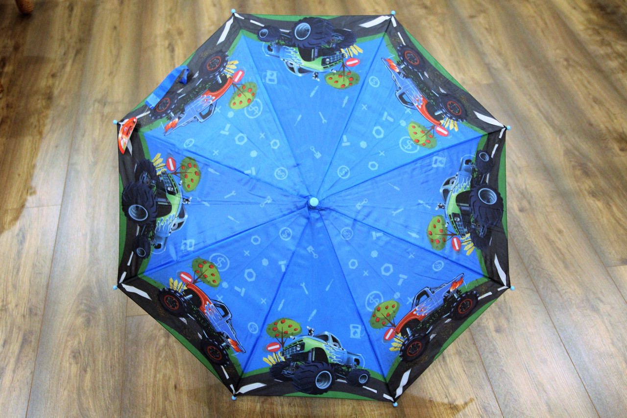 Зонт трость для мальчиков с рисунком машинки (13831)