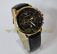 Часы мужские копия Armany чёрный ремешок 1-15