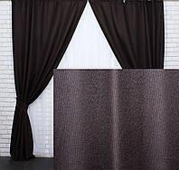 """Комплект готовых светонепроницаемых штор,коллекция блэкаут """"Лён Мешковина"""",цвет венге. Код 291ш, фото 1"""