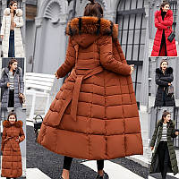 Зимнее женское стёганое пальто ниже колен с поясом и мехом на капюшоне, фото 1
