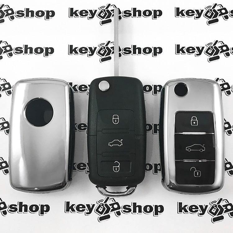 Чехол (серебристый, полиуретановый) для выкидного ключа Skoda (Шкода), кнопки с защитой
